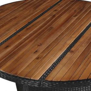 Garden Table 150×74 cm Poly Rattan and Solid Acacia Wood