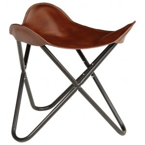 vidaXL Butterfly Stool Brown Real Leather