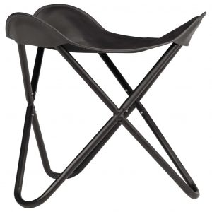 Butterfly Stool Black Real Leather