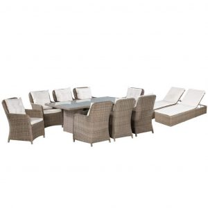vidaXL 11 Piece Outdoor Dining Set with Sunloungers Poly Rattan Brown