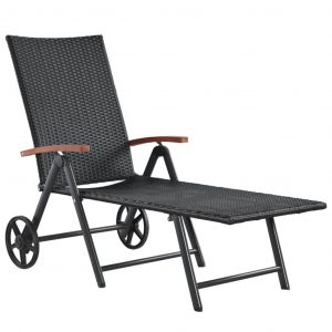 vidaXL Sun Lounger with Wheels Poly Rattan Black