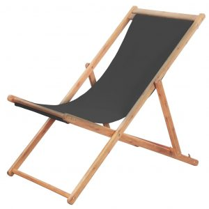 vidaXL Folding Beach Chair Fabric and Wooden Frame Grey