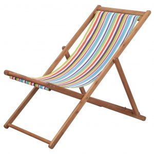 vidaXL Folding Beach Chair Fabric and Wooden Frame Multicolour