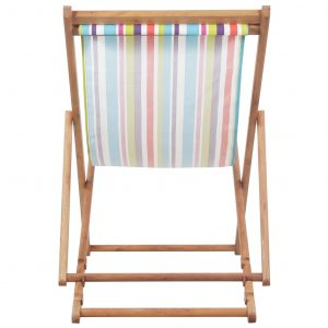 Folding Beach Chair Fabric and Wooden Frame Multicolour
