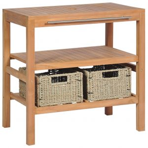 Bathroom Vanity Cabinet with 2 Baskets Solid Teak 74x45x75 cm