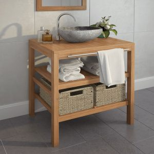 vidaXL Bathroom Vanity Cabinet with 2 Baskets Solid Teak 74x45x75 cm