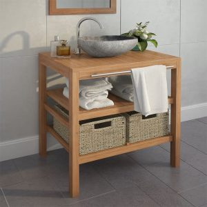 vidaXL Bathroom Vanity Cabinet Solid Teak with Riverstone Sink