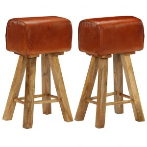 vidaXL Bar Chairs 2 pcs Real Leather and Solid Mango Wood