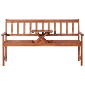 3-Seater Garden Bench with Table 158 cm Solid Acacia Wood Brown