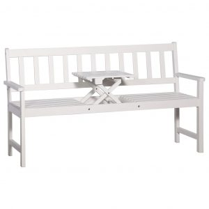 vidaXL 3-Seater Garden Bench with Table 158 cm Solid Acacia Wood White