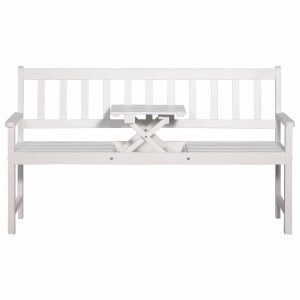 3-Seater Garden Bench with Table 158 cm Solid Acacia Wood White