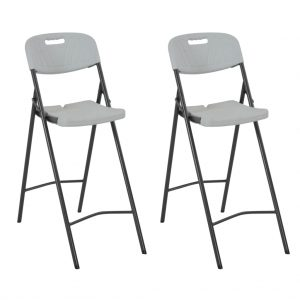 vidaXL Folding Bar Chairs 2 pcs HDPE and Steel White