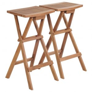 vidaXL Folding Bar Stools 2 pcs Solid Teak Wood