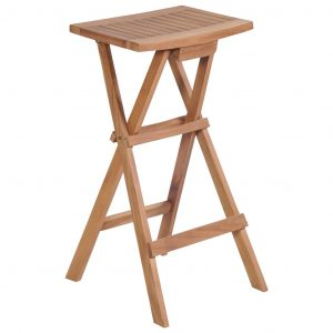 Folding Bar Stools 2 pcs Solid Teak Wood