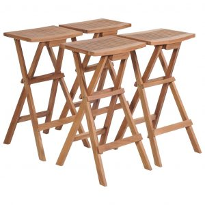 vidaXL Folding Bar Stools 4 pcs Solid Teak Wood