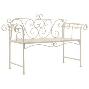vidaXL Garden Bench 132 cm Metal Antique White