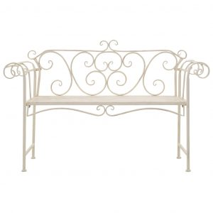 Garden Bench 132 cm Metal Antique White