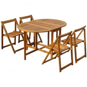 vidaXL 5 Piece Folding Outdoor Dining Set Solid Acacia Wood