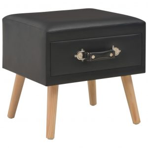 vidaXL Bedside Cabinet Black 40x35x40 cm Faux Leather