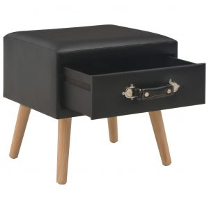 Bedside Cabinet Black 40x35x40 cm Faux Leather