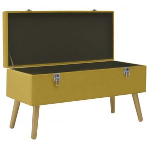 Bench with Storage Compartment 80 cm Mustard Velvet