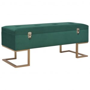 vidaXL Bench with Storage Compartment 105 cm Green Velvet
