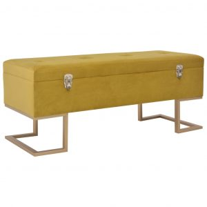 vidaXL Bench with Storage Compartment 105 cm Mustard Velvet