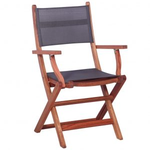 Outdoor Chairs 2 pcs Grey Solid Eucalyptus Wood and Textilene