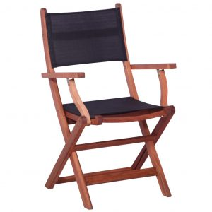 Outdoor Chairs 2 pcs Black Solid Eucalyptus Wood and Textilene