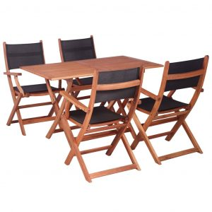 vidaXL 5 Piece Outdoor Dining Set Solid Eucalyptus Wood and Textilene