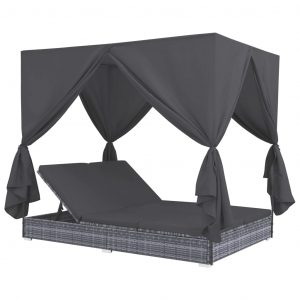 vidaXL Outdoor Lounge Bed with Curtains Poly Rattan Grey