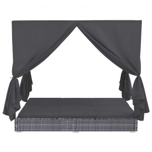 Outdoor Lounge Bed with Curtains Poly Rattan Grey