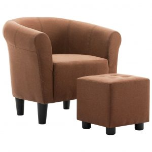 2 Piece Armchair and Stool Set Brown Fabric