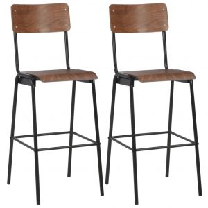 vidaXL Bar Chairs 2 pcs Brown Solid Plywood Steel