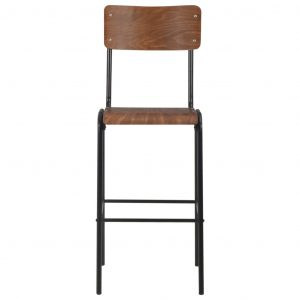 Bar Chairs 2 pcs Brown Solid Plywood Steel