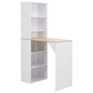 vidaXL Bar Table with Cabinet White 115x59x200 cm