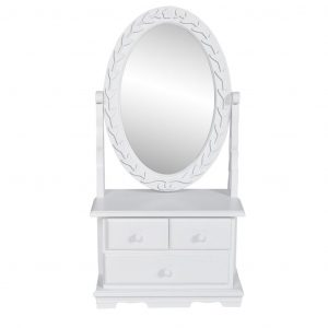 vidaXL Vanity Makeup Table with Oval Swing Mirror MDF