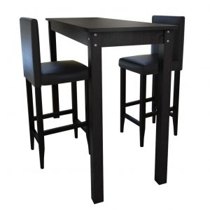 vidaXL Bar Table with 2 Bar Chairs Black