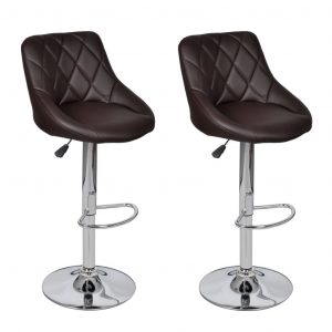 Bar Stools 2 pcs Brown Faux Leather