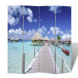 vidaXL Folding Room Divider Print 160 x 170 Beach