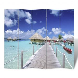 vidaXL Folding Room Divider Print 200 x 170 Beach