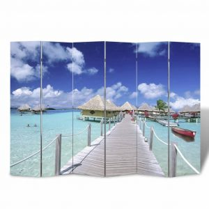 vidaXL Folding Room Divider Print 240x170cm Beach