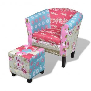 vidaXL Armchair with Footstool Patchwork Design Fabric