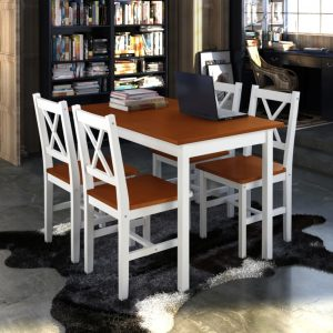 vidaXL 5 Piece Dining Set Brown and White