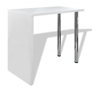 vidaXL Bar Table MDF with 2 Steel Legs High Gloss White