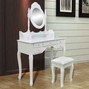 Dressing Table with Mirror and Stool 7 Drawers White