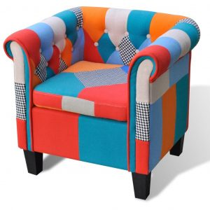 vidaXL Armchair with Patchwork Design Fabric