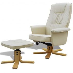 vidaXL Armchair with Footrest Cream White Faux Leather
