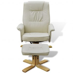 Armchair with Footrest Cream White Faux Leather