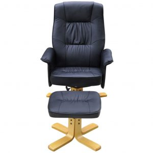 Armchair with Footrest Black Faux Leather